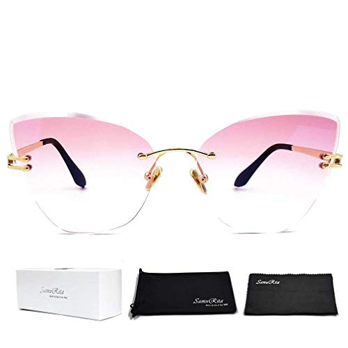 SamuRita Gradient Tinted Color Lenses Rimless Cateye Sunglasses(Pink) ()
