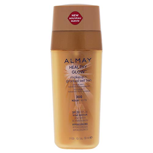 Almay Healthy Glow Makeup Plus Gradual Self Tan - 300 Medium By Almay for Women - 1 Oz Foundation, 1 Oz (Best Drugstore Self Tanner For Pale Skin)
