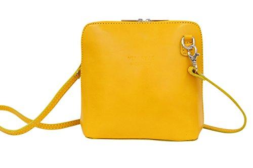 Bag AMBRA VL508 City Petit cuir en Jaune Moda Sac bandoulière pSxwUCp