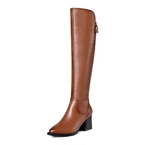 Les Brown Éclair Femmes All Bottes La Taille En Plate Qualité Grande forme Match Haute Pu Fermeture 42 D'hiver Chaussures Cuir Haoliequan 34 De pzMSqUV