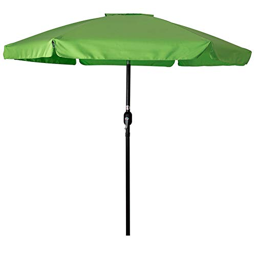 Sundale Outdoor 7.5 Feet Aluminum Beach Drape Umbrella Table Market Umbrella with Crank and Push Button Tilt for Patio, Garden, Deck, Backyard, 6 Fiberglass Ribs, 100% Polyester Canopy (Apple Green)