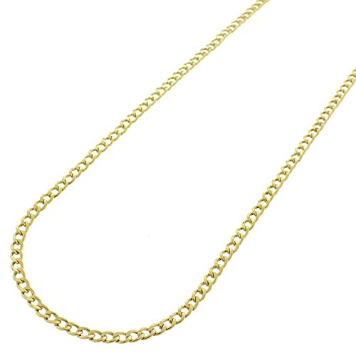 Curves Gold Link (10k Yellow Gold 2.5mm Hollow Cuban Curb Link Necklace Chain 16