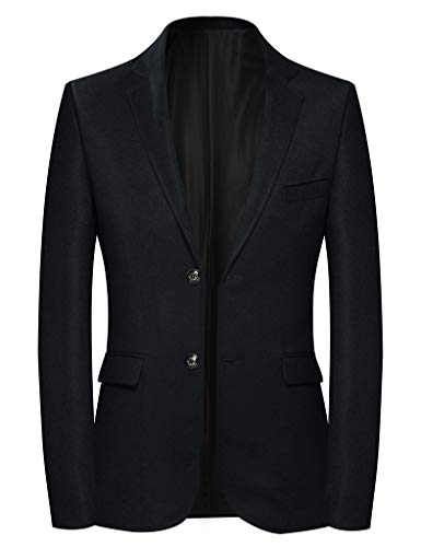 (INSFITY Men's Slim Fit Wool Blend Sport Coat Blazer Jacket Black)
