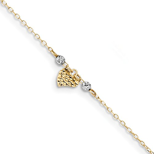 ICE CARATS 14k Two Tone Yellow Gold Heart Beads 1in. Adjustable Chain Plus Size Extender Anklet Ankle Beach Bracelet Fine Jewelry Gift Set For Women Heart by ICE CARATS