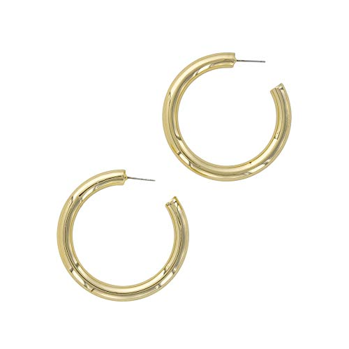 Columbus 18K Gold Plated Chunky Lightweight Hypoallergenic Thick Hoop Earrings (50mm ()
