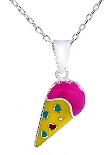 Ice Cream Cone Enamel Charm - AFFY Jewelry Multi Color Enamel Ice Cream Cone Charm Pendant Necklace in 925 Sterling Silver