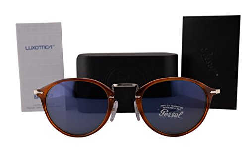 Persol PO3075S Sunglasses Light Havana w/Blue Lens 51mm 9656 - Middleton Kate Sunglasses