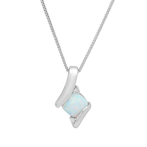 Argent sterling Créé Opale et diamant Pendant-necklace sur une Chaîne de 45,7cm