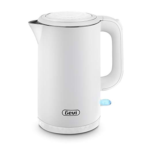 Electric Kettle Gevi 1.7 Liter Cool Touch Double Wall Stainless Steel Tea Kettle Water Boiler with 1500W Strix Control, Metta White
