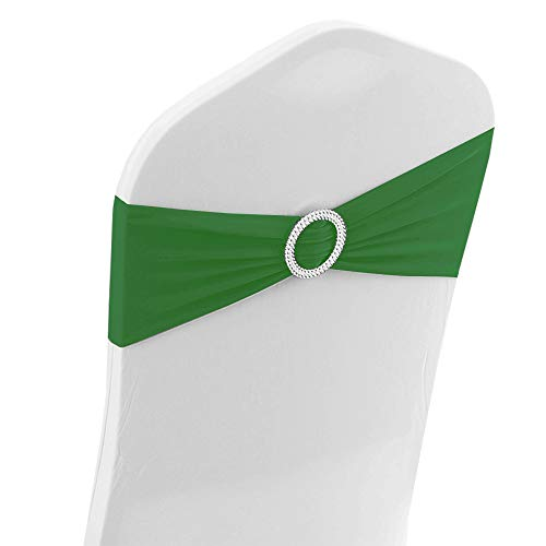 Ready Made Slipcover - Set of 10 Spandex Chair Bands for Chair Covers Round Diamante Buckle Wedding Decoration Ready Made (Green)
