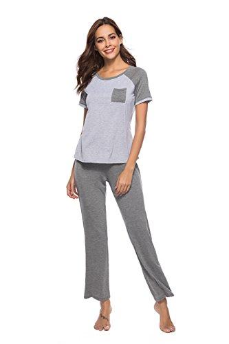 Trousers Pajama (Poseca Women's Homewear Pyjamas Long Sets - Grey - XXL)