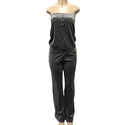 6085f459a2b63 2B BEBE Women s Strapless Velour Velvet Jumpsuit Tracksuit Lounge Wear in  Medium Heather (Large)