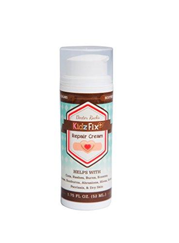 KidzFix - All Natural Skin Repair Cream w/Aloe Vera & Eucalyptus Oil - For Eczema, Scrapes, Burns, Sores by KidzFix