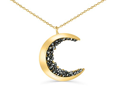ONDAISY 18K Gold Plated Black Cz Gypsy Planet Small Half Crescent Sailor Luna Moon Pendant Charm 18inch Chain Necklace