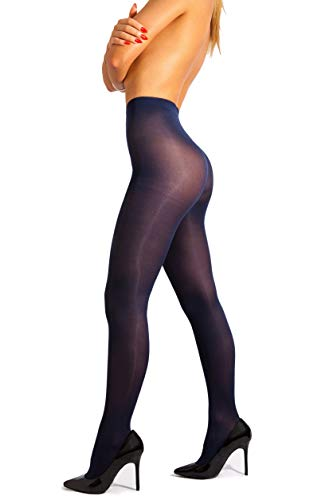 sofsy Opaque Microfibre Tights for Women - Invisibly Reinforced Opaque Brief Pantyhose 40Den [Made In Italy] Navy Blue 2 - Small (Blue Pantyhose)