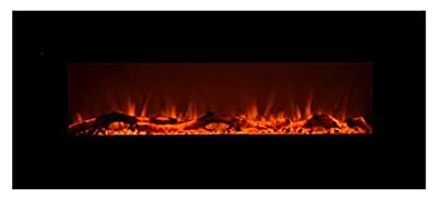 """Touchstone 80001 Onyx Wall Mounted Electric Fireplace, 50"""" Wide, Logset & Crystal, 1500W Heat (Black)"""