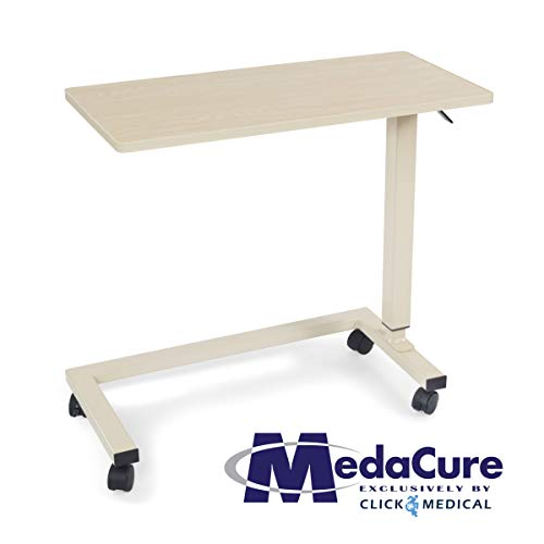 (Medical Height Adjustable Overbed Table - Flame Resistant and Anti-Spill Rim - Heavy Duty Steel Frame and Swivel Locking Casters for Home, Hospital,Laptop, and Breakfast- 50lb Weight Capacity. (Oak))