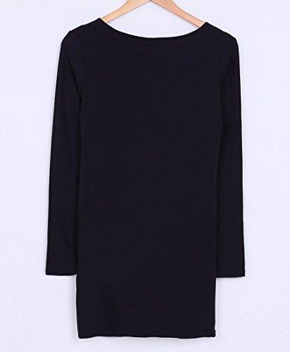 Rundhals Langarm Stitching Kleid Frauen dünnes Paket-Hüfte Baumwollminikleid