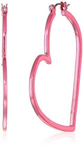- Betsey Johnson (GBG) Women's Metallic Fuchsia Abstract Heart Hoop Earrings, Metallic Fuchsia, One Size