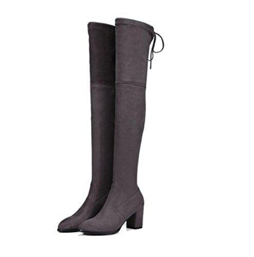 Stivali lunghi Donne sopra Gray Heel Black Inverno rotonda alti Alta moda Stretch Autunno ginocchio Lavoro Nuova Primavera Partito Testa Mid Stivali Scrub Rough rqYYf5twx