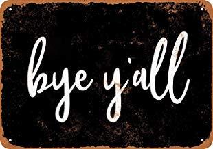 Cartel de Metal Vintage con Texto en inglés Bye Yall (Fondo ...