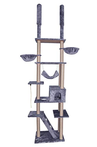 Roypet Adjustable 104'-115' Luxury Cat Furniture Floor-to-Ceil Cat Trees with Fixing Tool, grey