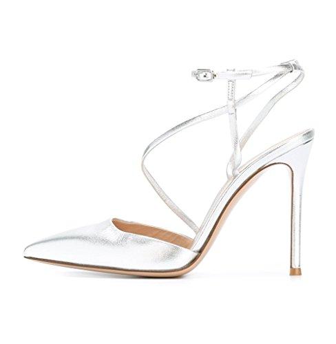 Schuhe Heels Schnalle Größe Silber Zehen Große Fesselriemen Damen High Riemchensandaletten Stiletto Kolnoo Sandalen Spitze xvY81fFwq