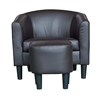 Sensational Amazon Com Barrel Back Accent Chair With Ottoman Curved Ncnpc Chair Design For Home Ncnpcorg