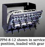 - Pivoting Panel Mount Rack Spaces: 8U Spaces, Depth: 18
