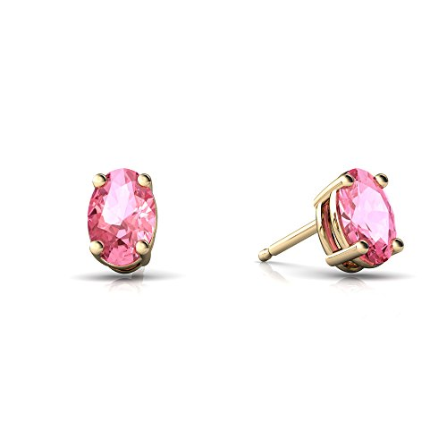6x4mm Oval Pink Sapphire Earring - 7