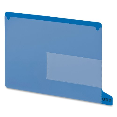 Smead End Tab Poly Out Guide, Two Pocket, Bottom Position Tab, Letter Size, Blue, 25 per Box (61951)