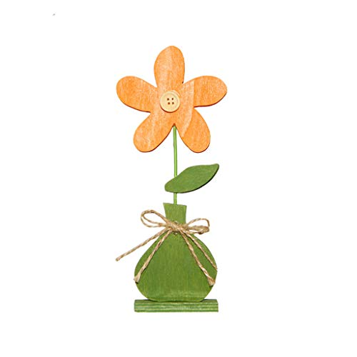 (Iusun Easter Decorations Wooden Tulip Button Flower Shapes Home Table Top Decor Pendant Wedding Festival Holiday Christmas Halloween Party Valentine's Day New Year Ornaments Craft Gifts (C))