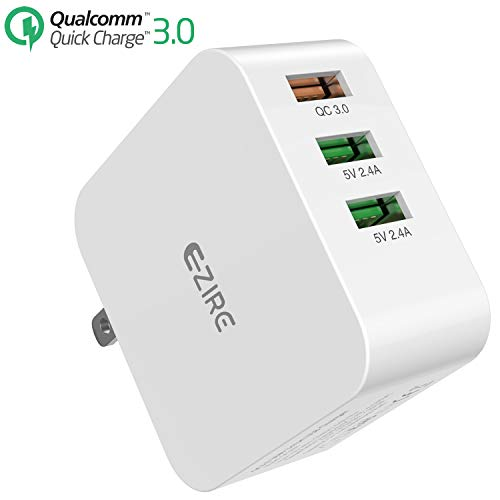 Quick Charge 3.0 USB Charger, Ezire 36W Wall Charger Adapter 3-Port QC 3.0 Fast USB Power Adapter with SmartID Compatible for Galaxy Note 5/4, S7/S6/Edge, iPhone8Plus/Iphone8, iPad and More
