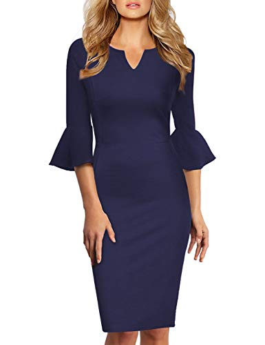(GlorySunshine Women 3/4 Flare Bell Sleeves Work Bodycon Pencil Dress Vintage Cocktail Party Dresses (2XL,)