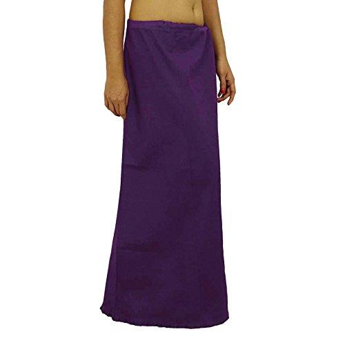Sari enagua enagua Sólido Algodón Forro de Bollywood de la India Para Sari Púrpura