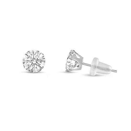Round 4mm 10k White Gold Genuine White Topaz Stud Earrings, April Birthstone, (0.6 - Genuine White Earrings Topaz