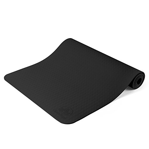 "Clever Yoga Mat BetterGrip Eco-Friendly With The Best Recyclable Non-Slip and Durable TPE 6mm or 1/4 thick – Comes With Our Special ""Namaste"" (Black)"