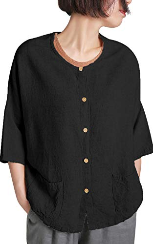 - Ecupper Women's 3/4 Draped Sleeve Button Down Loose Linen Cotton Long Tunic Blouse Shirts Black US(16-18)/TagXL