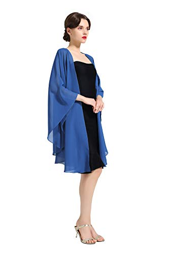 Shawl Wrap Chiffon Scarf For Women Evening Dresses Wedding Stole Azure Blue by BEAUTELICATE (Informal Prom Dress Evening Gown)