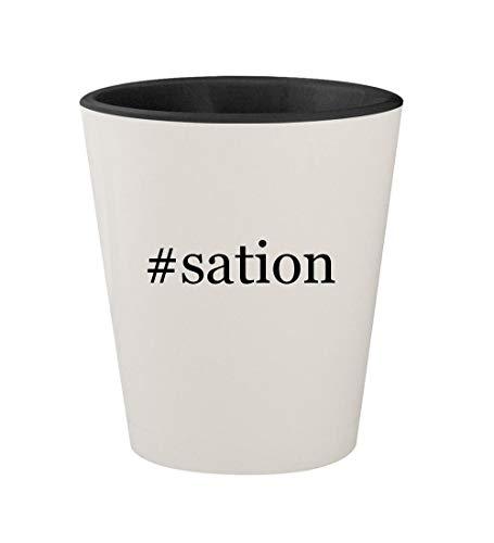 #sation - Ceramic Hashtag White Outer & Black Inner 1.5oz Shot Glass (Gta V Play Sation 4)