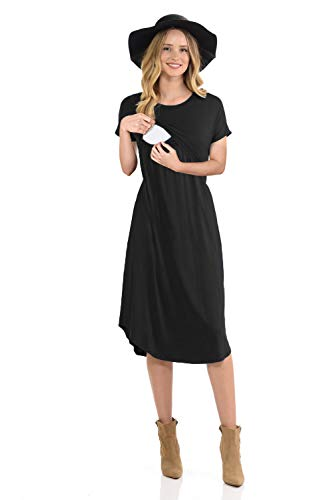 CzzzyL Maternity Dress for Work, Womens Double Layers A Line Postpartum Clothes with Discreet Breastfeeding Knit Stylist Nursing Mama Clothing(Black,XX-Large) ()