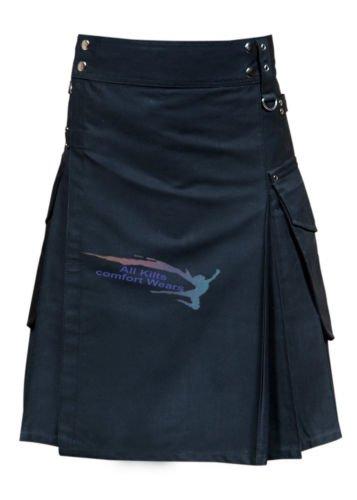 New Active Men Black Cargo Utility Fashion Kilt (30)