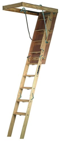 Louisville Ladder CS254P Champion Wood Attic Ladder 300 Pound Capacity 25.5-Inch by 54-Inch Opening Ceiling Height 7-Foot to 8-Foot-9-Inch by Louisville Ladder