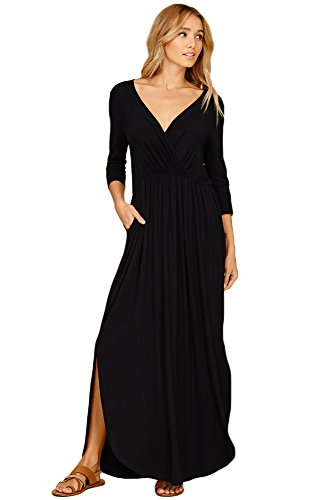 Annabelle U.S.A Women's V-Neck Wrap Front Pleated Side Pocket Maxi Dress Black Small D5241B