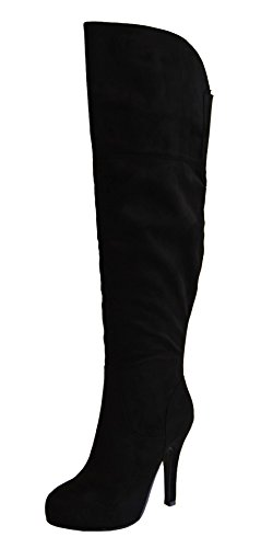 Refresh Womens Lana-14 Sueded Knee High Boot (10 B(M) US, Black)