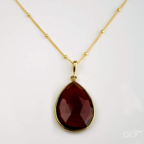 - Large Teardrop Garnet Quartz Pendant Necklace, January Birthstone, Garnet Necklace, Garnet Pendant Necklace, 18x25mm Teardrop Gemstone Necklace