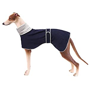 Greyhound Cosy Fleece Jumper, Dog Winter Coat with Warm Fleece Lining, Outdoor Dog Apparel with Adjustable Bands for Medium, Large Dog