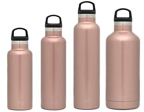 Simple Modern 32oz Ascent Water Bottle - Stainless Steel Hydro Swell Flask w/Handle Lid - Metal Double Wall Vacuum Insulated Gold Reusable Tumbler Aluminum 1 Liter Cold Leak Proof - Rose Gold -  ASC-32-RSG