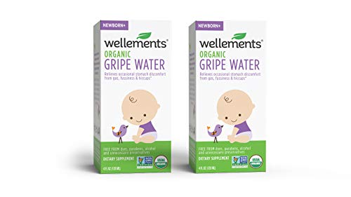 Wellements Organic Gripe Water, 4 Fl Oz, 2 Count, Eases Baby's Stomach Discomfort and Gas, Free From Dyes, Parabens, Preservatives