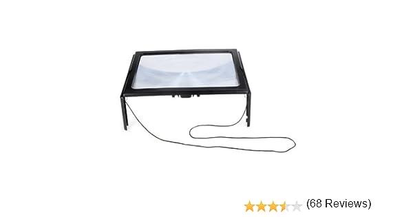 KKmoon Ultrafino A4 PVC Magnifier 3X Lupa Plegable Lupa Manos Libres para Lectura con 4 Luces LED Hoja Lupa Grande de Página Completa la Lente de la Lupa Ayuda para la Lectura: